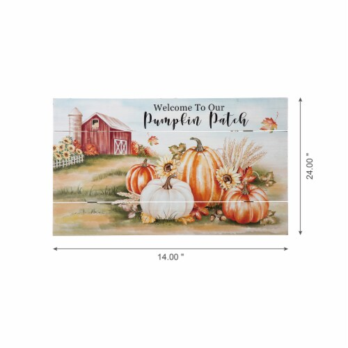 Glitzhome Fall Wooden Pumpkin Patch Wall Sign Perspective: left