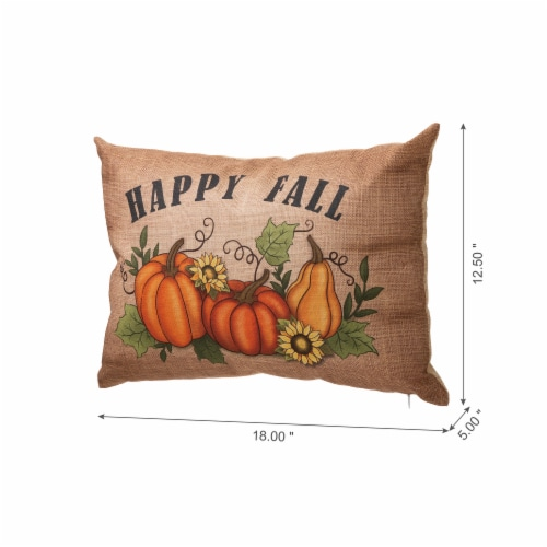 Glitzhome Faux Burlap Fall Pumpkin Pillow Perspective: left