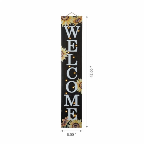 Glitzhome Fall Lighted Sunflower Wooden Porch Sign Perspective: left