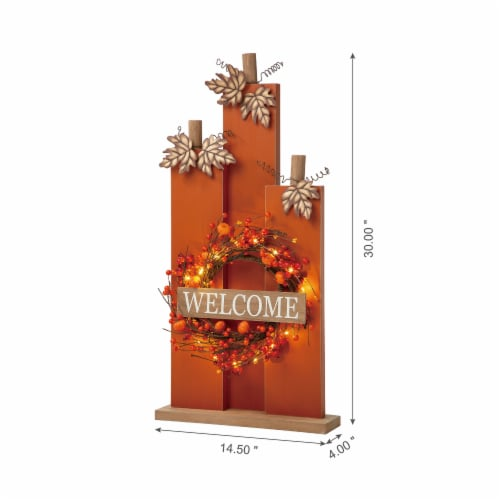 Glitzhome Fall Lighted Wooden Pumpkin with Wreath Decor Perspective: left