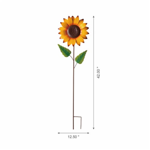 Glitzhome Fall Metal Fully Bloomed Sunflower Yard Stake Perspective: left