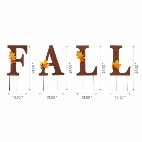 Glitzhome Metal Fall Yard Stake Decor Perspective: left