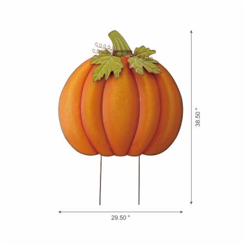 Glitzhome Fall Oversized Metal Pumpkin Yard Stake Decor Perspective: left