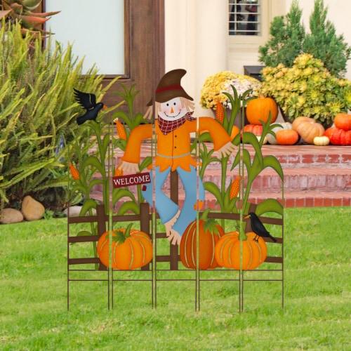 Glitzhome Fall Metal Scarecrow & Corn Farmhouse Yard Stake Perspective: left