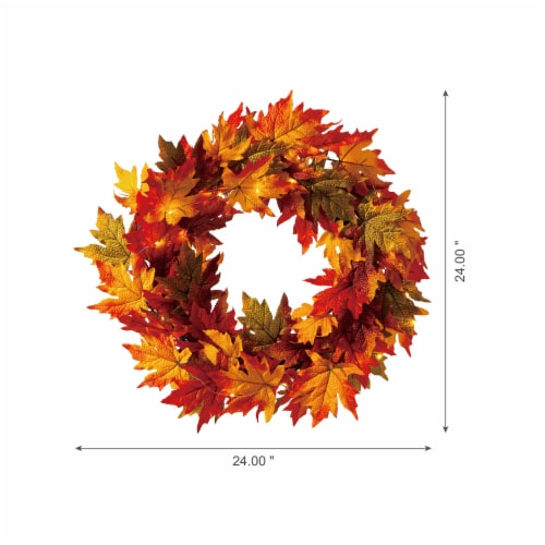 Glitzhome Fall Lighted Maple Leaves Wreath Perspective: left