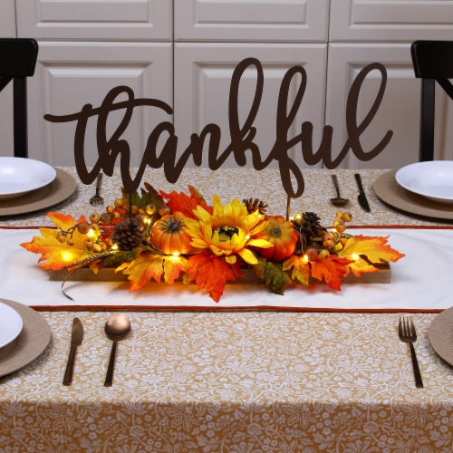 Glitzhome Lighted Floral Thankful Metal Table Decor Perspective: left