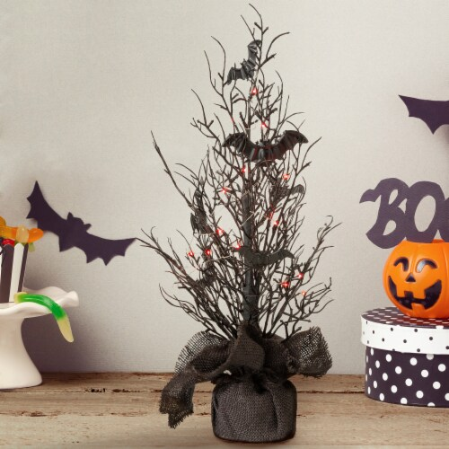 Glitzhome Halloween Lighted Bats Adorable Mini Table Tree Decor Perspective: left