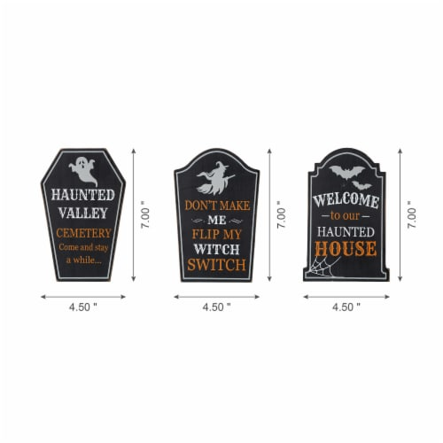Glitzhome Wooden Tombstone Standing Table Sign Decor Perspective: left