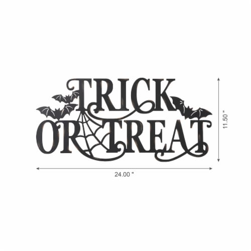 Glitzhome Metal Trick or Treat Wall Sign Perspective: left