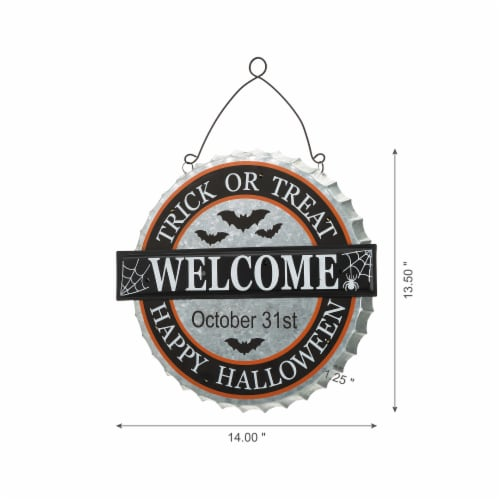 Glitzhome Lighted Halloween Metal Bottle Cap Wall Sign Perspective: left