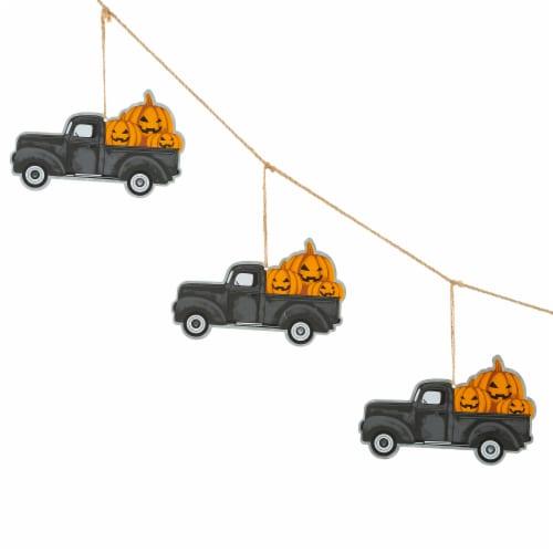 Glitzhome Halloween Metal Trucks Garland Perspective: left
