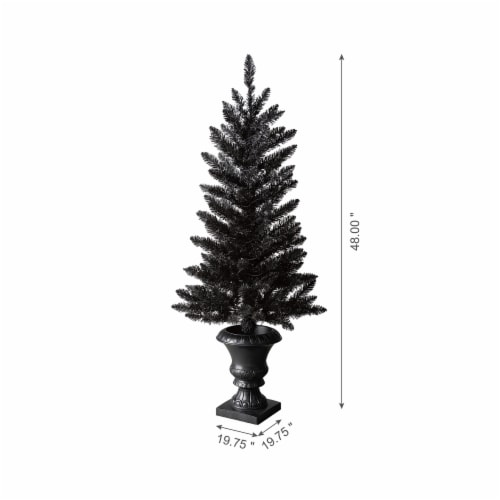 Glitzhome Black Lighted Porch Tree with Orange LED Lights Perspective: left