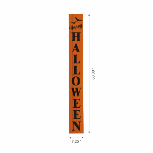 Glitzhome Happy Halloween Wooden Porch Sign Perspective: left