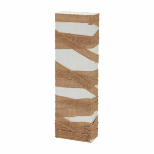 Glitzhome Lighted Wooden Mummy Porch Decor Perspective: left
