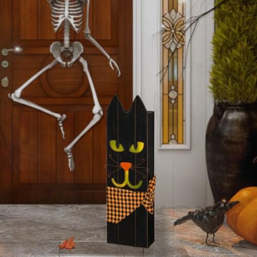Glitzhome Lighted Wooden Black Cat Porch Decor Perspective: left