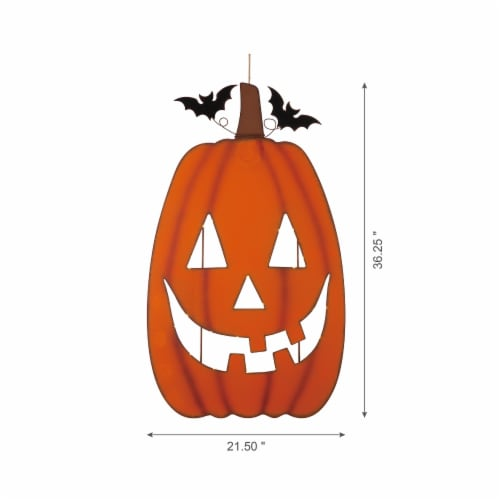 Gltizhome Lighted Metal Pumpkin Cutout Porch Decor Perspective: left