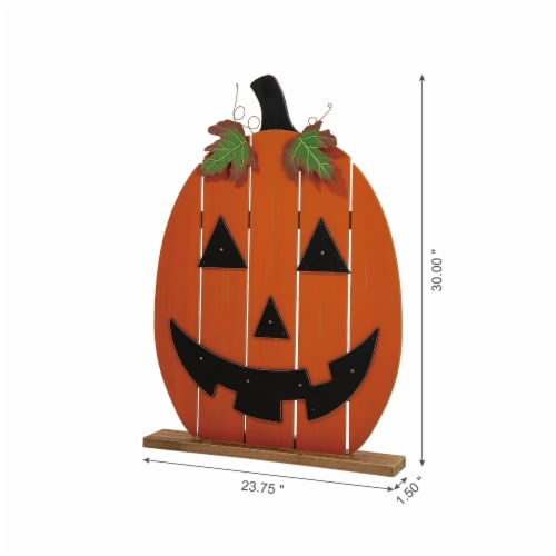 Glitzhome Lighted Wooden Pumpkin Porch Decor Perspective: left