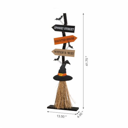 Glitzhome Lighted Witch Broom Wooden Porch Halloween Decor Perspective: left