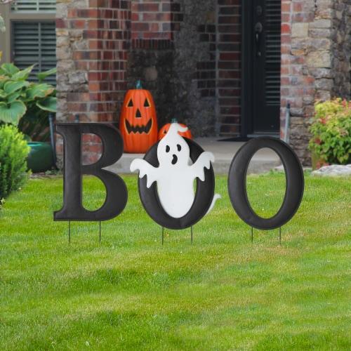 Glitzhome Halloween Metal Printed Ghost BOO Yard Stake Perspective: left