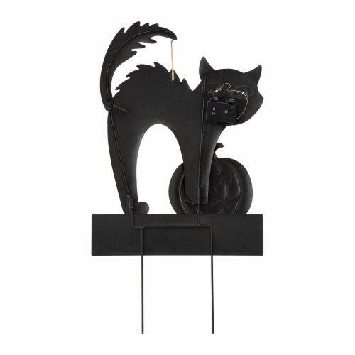 Glitzhome Light Up Halloween Metal Black Cat Yard Stake Perspective: left