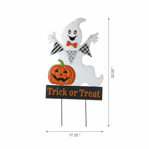 Glitzhome Lighted Halloween Metal Ghost Yard Stake Perspective: left