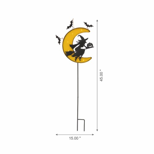 Glitzhome Lighted in the Dark Metal Moon Yard Stake Perspective: left