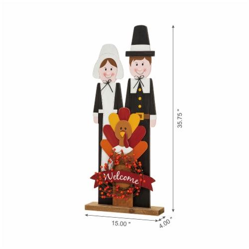 Glitzhome Wooden Pilgrim Couple with Turkey Porch Decor Perspective: left