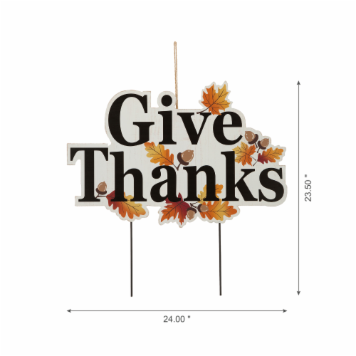 Glitzhome Give Thanks Wooden Yard Stake Decor Perspective: left