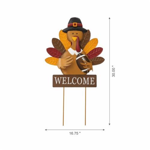Glitzhome Thanksgiving Metal Turkey Yard Stake Decor Perspective: left