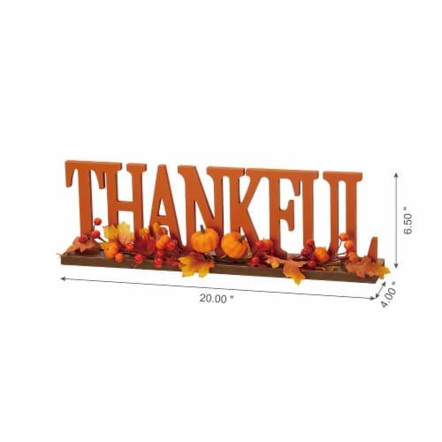 Glitzhome Thankful Orange Wooden Table Decor Perspective: left