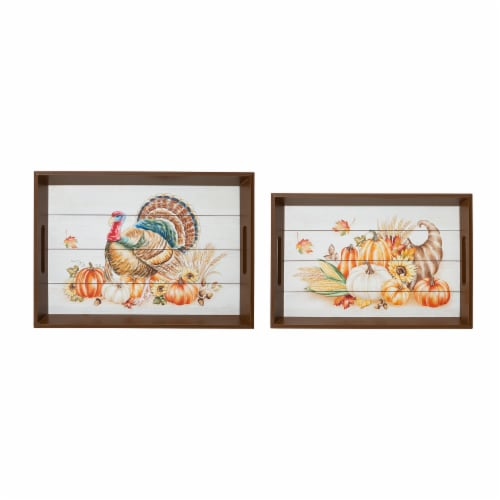 Glitzhome Wooden Turkey Serving Tray Perspective: left