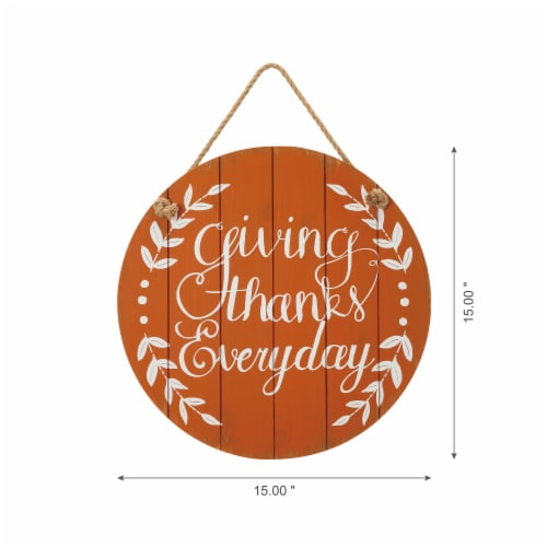 Glitzhome Orange Wooden Giving Thanks Everyday Wall Sign Perspective: left