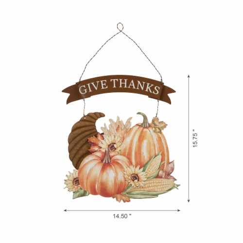 Glitzhome Give Thanks Croissant Wall Decor Perspective: left