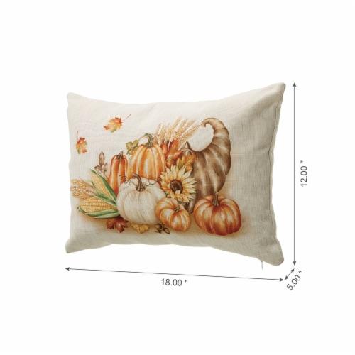 Glitzhome Faux Burlap Thanksgiving Croissant Pillow Perspective: left