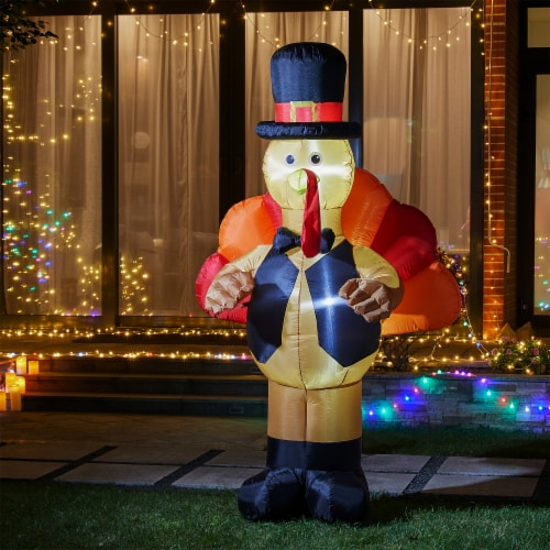 Glitzhome Lighted Inflatable Turkey Decor Perspective: left