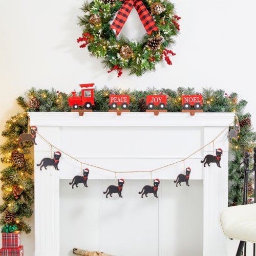 Glitzhome Metal Christmas Kitty Garland Perspective: left