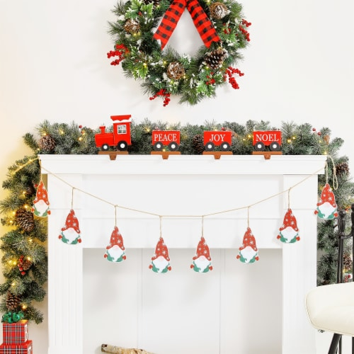 Glitzhome Metal Christmas Gnome Garland Perspective: left