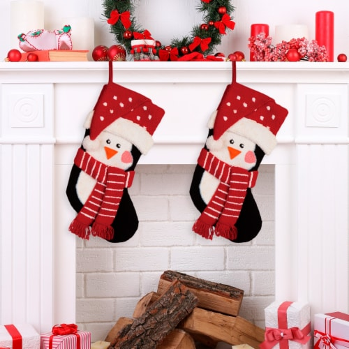 Glitzhome Hooked Stocking with Penguin & Reindeer Perspective: left