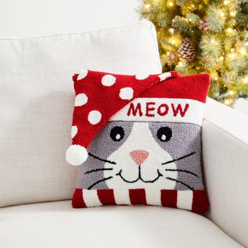 Glitzhome Hooked 3D Meow Pillow Perspective: left