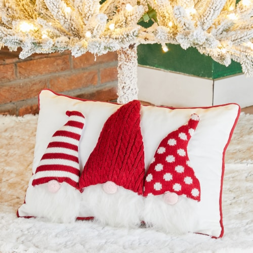 Glitzhome 3D Heavy Cotton Knitted Gnome Pillow Perspective: left