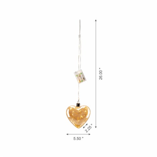 Glitzhome Christmas Glass Heart Wall Décor w/String Lights Perspective: left
