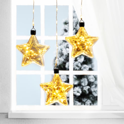 Glitzhome Christmas Glass Star Wall Décor w/String Lights Perspective: left