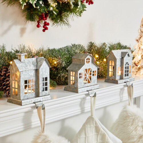 Glitzhome Galvanized House Stocking Holders Perspective: left
