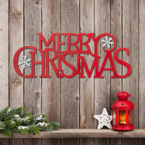 Glitzhome Metal MERRY CHRISTMAS Wall Decor Perspective: left