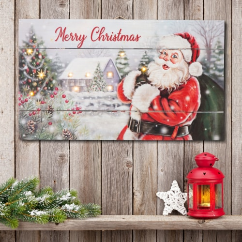 Glitzhome Lighted Wooden Santa Wall Decor Perspective: left