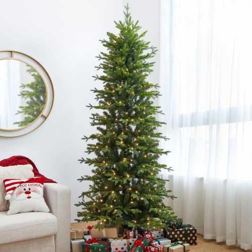 Glitzhome Pre-Lit Artificial Christmas Tree with LED Light Bulbs Perspective: left