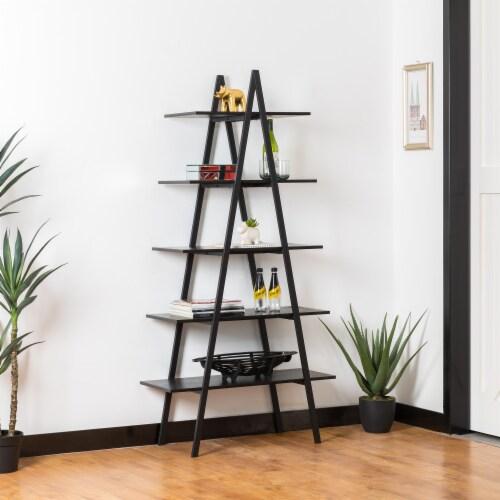 Glitzhome Modern Industry Metal/Wooden 5-Tier A Frame Bookcase & Shelves - Black Perspective: left