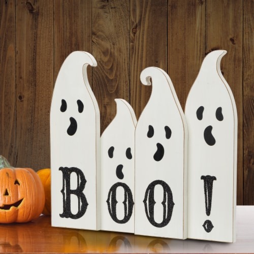 Glitzhome Halloween Boo! Wooden Ghost Table Decor Perspective: left