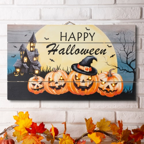 Glitzhome Happy Halloween Wooden Wall Decor With Warm White LED Lights Perspective: left
