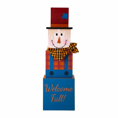 Glitzhome Jack-O-Lantern and Scarecrow Double Sided Wooden Porch Decor Perspective: left